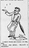 1930-31. La vignetta del Littoriale dopo le 2 papere di Marietti contro l'Alessandria, sotto la pioggia